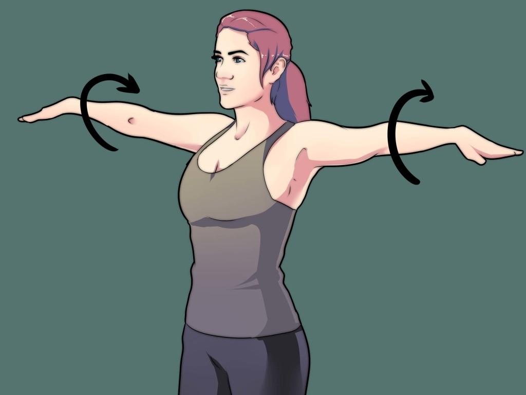 Упражнения для похудения рук и плеч - Вращения