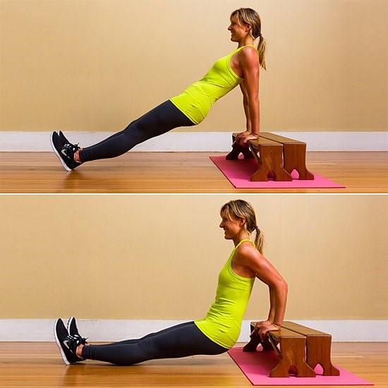 Упражнения для похудения рук и плеч - Обратные отжимания
