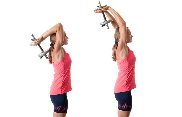 Упражнения для похудения рук и плеч - Разгибания, фаранцузский жим